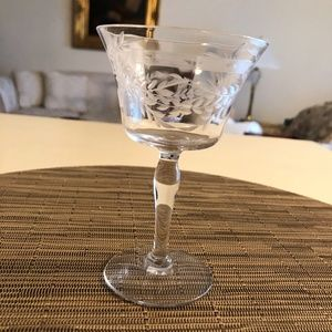 Etched Crystal Wine Glass - chipped